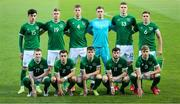 12 October 2021; The Republic of Ireland team, back row, from left, Alexander Gilbert, Evan Ferguson, Mark McGuinness, Brian Maher, Jake O'Brien and Conor Coventry. Front row, from left, Ross Tierney, Lee O'Connor, Gavin Kilkenny, William Ferry and Joel Bagan, before the UEFA European U21 Championship Qualifier Group F match between Montenegro and Republic of Ireland at Gradski Stadion Podgorica in Podgorica, Montenegro. Photo by Filip Roganovic/Sportsfile