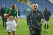 12 October 2021; Republic of Ireland manager Jim Crawford after their defeat in the UEFA European U21 Championship Qualifier Group F match between Montenegro and Republic of Ireland at Gradski Stadion Podgorica in Podgorica, Montenegro. Photo by Filip Roganovic/Sportsfile