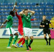 12 October 2021; Conor Coventry of Republic of Ireland reacts after his penalty was saved during the UEFA European U21 Championship Qualifier Group F match between Montenegro and Republic of Ireland at Gradski Stadion Podgorica in Podgorica, Montenegro. Photo by Filip Roganovic/Sportsfile