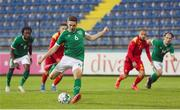 12 October 2021; Conor Coventry of Republic of Ireland takes a penalty, which was subsequently saved, during the UEFA European U21 Championship Qualifier Group F match between Montenegro and Republic of Ireland at Gradski Stadion Podgorica in Podgorica, Montenegro. Photo by Filip Roganovic/Sportsfile