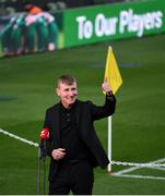 12 October 2021; Republic of Ireland manager Stephen Kenny acknowledges supporters while being interviewed by television before the international friendly match between Republic of Ireland and Qatar at Aviva Stadium in Dublin. Photo by Stephen McCarthy/Sportsfile