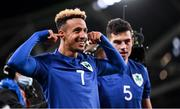 12 October 2021; Callum Robinson of Republic of Ireland, left, celebrates after scoring his side's first goal during the international friendly match between Republic of Ireland and Qatar at Aviva Stadium in Dublin. Photo by Stephen McCarthy/Sportsfile