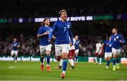 12 October 2021; Callum Robinson of Republic of Ireland celebrates after scoring his side's first goal during the international friendly match between Republic of Ireland and Qatar at Aviva Stadium in Dublin. Photo by Stephen McCarthy/Sportsfile