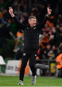 12 October 2021; Republic of Ireland manager Stephen Kenny celebrates after Callum Robinson, not pictured, scored his side's first goal uring the international friendly match between Republic of Ireland and Qatar at Aviva Stadium in Dublin. Photo by Sam Barnes/Sportsfile