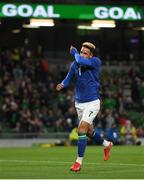 12 October 2021; Callum Robinson of Republic of Ireland celebrates after scoring his side's second goal during the international friendly match between Republic of Ireland and Qatar at Aviva Stadium in Dublin. Photo by Eóin Noonan/Sportsfile