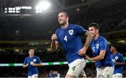 12 October 2021; Shane Duffy of Republic of Ireland celebrates after scoring his side's fourth goal during the international friendly match between Republic of Ireland and Qatar at Aviva Stadium in Dublin. Photo by Eóin Noonan/Sportsfile