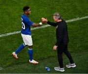 12 October 2021; Chiedozie Ogbene of Republic of Ireland with manager Stephen Kenny on being substituted during the international friendly match between Republic of Ireland and Qatar at Aviva Stadium in Dublin. Photo by Seb Daly/Sportsfile