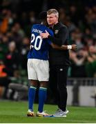 12 October 2021; Chiedozie Ogbene of Republic of Ireland with manager Stephen Kenny on being substituted during the international friendly match between Republic of Ireland and Qatar at Aviva Stadium in Dublin. Photo by Stephen McCarthy/Sportsfile