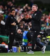 12 October 2021; Republic of Ireland manager Stephen Kenny celebrates after his side scored their third goal during the international friendly match between Republic of Ireland and Qatar at Aviva Stadium in Dublin. Photo by Sam Barnes/Sportsfile