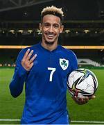 12 October 2021; Callum Robinson of Republic of Ireland celebrates with the match ball after scoring a hat-trick in the international friendly match between Republic of Ireland and Qatar at Aviva Stadium in Dublin. Photo by Stephen McCarthy/Sportsfile