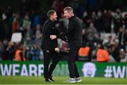 12 October 2021; Republic of Ireland manager Stephen Kenny, right, and coach Anthony Barry celebrate after the international friendly match between Republic of Ireland and Qatar at Aviva Stadium in Dublin. Photo by Sam Barnes/Sportsfile