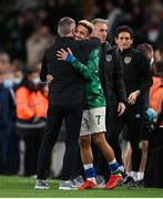 12 October 2021; Callum Robinson of Republic of Ireland hugs manager Stephen Kenny after the international friendly match between Republic of Ireland and Qatar at Aviva Stadium in Dublin. Photo by Stephen McCarthy/Sportsfile
