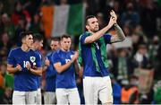 12 October 2021; Shane Duffy of Republic of Ireland applauds supporters after the international friendly match between Republic of Ireland and Qatar at Aviva Stadium in Dublin. Photo by Sam Barnes/Sportsfile