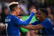 12 October 2021; Callum Robinson of Republic of Ireland, left, cebebrates with team-mate Chiedozie Ogbene after scoring their side's third goal during the international friendly match between Republic of Ireland and Qatar at Aviva Stadium in Dublin. Photo by Eóin Noonan/Sportsfile