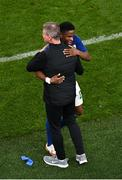 12 October 2021; Chiedozie Ogbene of Republic of Ireland with manager Stephen Kenny after being substituted during the international friendly match between Republic of Ireland and Qatar at Aviva Stadium in Dublin. Photo by Seb Daly/Sportsfile