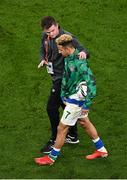 12 October 2021; Callum Robinson of Republic of Ireland with FAI communications executive Kieran Crowley after the international friendly match between Republic of Ireland and Qatar at Aviva Stadium in Dublin. Photo by Seb Daly/Sportsfile