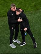 12 October 2021; Republic of Ireland manager Stephen Kenny, left, and Republic of Ireland coach Anthony Barry after the international friendly match between Republic of Ireland and Qatar at Aviva Stadium in Dublin. Photo by Seb Daly/Sportsfile