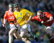 17 March 2004; Gregory O'Kane, Dunloy, in action against John McCarthy, Newtownshandrum. AIB All-Ireland Club Hurling Final, Newtownshandrum v Dunloy, Croke Park, Dublin, Picture credit; Brendan Moran / SPORTSFILE   *EDI*