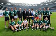 22 July 2013; In attendance at the launch of the M.Donnelly GAA All Ireland Poc Fada Finals are Uachtarán Chumann Lúthchleas Gael Liam Ó Néill, centre, alongside President of the Camogie Association Aileen Lawlor, with back row,  left to right, Eoin Reilly, Laois, Andrew Fahey, Clare, Patrick McKillion, Tyrone, Sean McBride, Derry, James Skehill, Galway, Martin Donnelly, CEO Martin Donnelly and Co., Humprey Kelleher, Chairperson National Poc Fada Committee, Niamh Mackin, Louth,  Brendan Cummins, Tipperary, Patrick McKillion, Tyrone, and Sean McBride, Derry, front row, left to right, Deirdre Colfer, Wexford, Adam O'Brien, Limerick, Donal McKernan, Antrim, . Croke Park, Dublin, Bronagh Mone, Armagh, Catriona McCrickard, Down, and Catriona Daly, Galway. Picture credit: David Maher / SPORTSFILE