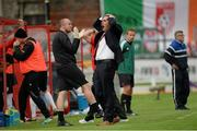 25 July 2013; Derry City manager Declan Devine reacts after his side went close with an effort on goal. UEFA Europa League Second Qualifying Round, 2nd leg, Derry City v Trabzonspor, The Brandywell, Derry. Picture credit: Oliver McVeigh / SPORTSFILE
