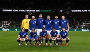 2 October 2021; The Republic of Ireland team, back row, from left, Caoimhin Kelleher, Conor Hourihane, Shane Duffy, Matt Doherty, Andrew Omobamidele and John Egan with, front, from left, Jamie McGrath, Callum Robinson, Chiedozie Ogbene, Enda Stevens and Jeff Hendrick, wearing the Republic of Ireland jersey in 'St Patrick's Blue', which is being worn to celebrate the 100th anniversary of the Football Association of Ireland, before the international friendly match between Republic of Ireland and Qatar at Aviva Stadium in Dublin. Photo by Stephen McCarthy/Sportsfile