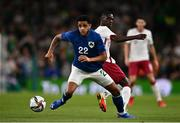 12 October 2021; Andrew Omobamidele of Republic of Ireland in action against Almoez Ali of Qatar during the international friendly match between Republic of Ireland and Qatar at Aviva Stadium in Dublin. Photo by Sam Barnes/Sportsfile