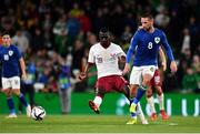12 October 2021; Conor Hourihane of Republic of Ireland in action against Almoez Ali of Qatar during the international friendly match between Republic of Ireland and Qatar at Aviva Stadium in Dublin. Photo by Sam Barnes/Sportsfile
