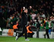 12 October 2021; Republic of Ireland manager Stephen Kenny celebrates his side's second goal, a penalty scored by Callum Robinson during the international friendly match between Republic of Ireland and Qatar at Aviva Stadium in Dublin. Photo by Sam Barnes/Sportsfile