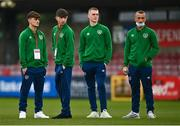 13 October 2021; Republic of Ireland players, from left, Kevin Zefi, Rocco Vata, Cathal Heffernan and Sam Curtis before the UEFA U17 Championship Qualifying Round Group 5 match between Republic of Ireland and Poland at Turner's Cross in Cork. Photo by Eóin Noonan/Sportsfile