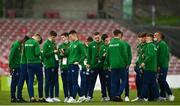 13 October 2021; Republic of Ireland players walk the pitch before the UEFA U17 Championship Qualifying Round Group 5 match between Republic of Ireland and Poland at Turner's Cross in Cork. Photo by Eóin Noonan/Sportsfile