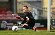 13 October 2021; Republic of Ireland goalkeeper Conor Walsh is beaten by a penalty taken by Oliwier Slawinski of Poland during the UEFA U17 Championship Qualifying Round Group 5 match between Republic of Ireland and Poland at Turner's Cross in Cork. Photo by Eóin Noonan/Sportsfile