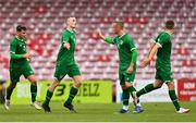 13 October 2021; Mark O'Mahony of Republic of Ireland celebrates with team-mate Sam Curtis after scoring their side's first goal during the UEFA U17 Championship Qualifying Round Group 5 match between Republic of Ireland and Poland at Turner's Cross in Cork. Photo by Eóin Noonan/Sportsfile