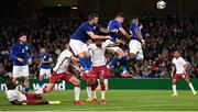 12 October 2021; Republic of Ireland players, from left, Shane Duffy, John Egan and Chiedozie Ogbene attack a corner during the international friendly match between Republic of Ireland and Qatar at Aviva Stadium in Dublin. Photo by Stephen McCarthy/Sportsfile