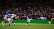 12 October 2021; Callum Robinson of Republic of Ireland shoots to score his side's second goal, a penalty, during the international friendly match between Republic of Ireland and Qatar at Aviva Stadium in Dublin. Photo by Stephen McCarthy/Sportsfile