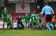 13 October 2021; Republic of Ireland manager Colin O'Brien celebrates with Justin Ferizaj and his Republic of Ireland team-mates after scoring his side's second goal during the UEFA U17 Championship Qualifying Round Group 5 match between Republic of Ireland and Poland at Turner's Cross in Cork. Photo by Eóin Noonan/Sportsfile