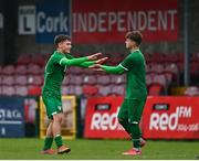 13 October 2021; Justin Ferizaj of Republic of Ireland, left, celebrates with team-mate Kevin Zefi after scoring their side's second goal during the UEFA U17 Championship Qualifying Round Group 5 match between Republic of Ireland and Poland at Turner's Cross in Cork. Photo by Eóin Noonan/Sportsfile