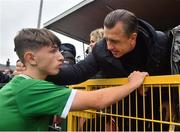 13 October 2021; Rocco Vata of Republic of Ireland with his father, former Celtic and Albanian footballer Rudi, after the UEFA U17 Championship Qualifying Round Group 5 match between Republic of Ireland and Poland at Turner's Cross in Cork. Photo by Eóin Noonan/Sportsfile