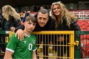 13 October 2021; Rocco Vata of Republic of Ireland with his father, former Celtic and Albanian footballer Rudi, and his mother Anne Frances after the UEFA U17 Championship Qualifying Round Group 5 match between Republic of Ireland and Poland at Turner's Cross in Cork. Photo by Eóin Noonan/Sportsfile
