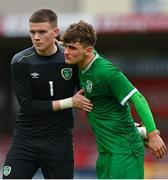 13 October 2021; Conor Walsh of Republic of Ireland, left, with team-mate Kevin Zefi after the UEFA U17 Championship Qualifying Round Group 5 match between Republic of Ireland and Poland at Turner's Cross in Cork. Photo by Eóin Noonan/Sportsfile