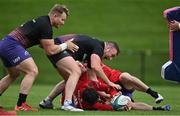 13 October 2021; Chris Cloete, left, Dave Kilcoyne and Joey Carbery during Munster rugby squad training at the University of Limerick in Limerick. Photo by Brendan Moran/Sportsfile