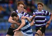 13 October 2021; Derry Moloney of Blackrock College is tackled by Simon Horgan of Terenure College during the Bank of Ireland Leinster Schools Junior Cup semi-final match between Blackrock College and Terenure College at Energia Park in Dublin. Photo by Piaras Ó Mídheach/Sportsfile