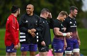 13 October 2021; Simon Zebo, second from left, and Kevin O'Byrne during Munster rugby squad training at the University of Limerick in Limerick. Photo by Brendan Moran/Sportsfile
