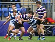 13 October 2021; Ólan Storey of Terenure College is tackled by Hubie McCarthy of Blackrock College during the Bank of Ireland Leinster Schools Junior Cup semi-final match between Blackrock College and Terenure College at Energia Park in Dublin. Photo by Piaras Ó Mídheach/Sportsfile