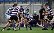 13 October 2021; Hubie McCarthy of Blackrock College is tackled by Scott McAllister of Terenure College during the Bank of Ireland Leinster Schools Junior Cup semi-final match between Blackrock College and Terenure College at Energia Park in Dublin. Photo by Piaras Ó Mídheach/Sportsfile