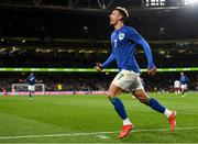 12 October 2021; Callum Robinson of Republic of Ireland celebrates after scoring his side's third goal during the international friendly match between Republic of Ireland and Qatar at Aviva Stadium in Dublin. Photo by Eóin Noonan/Sportsfile