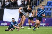 14 October 2021; Ruairi Munnelly of Newbridge College goes past the tackle of Conor Duffy of St Vincent's Castleknock College during the Bank of Ireland Leinster Schools Junior Cup semi-final match between St Vincent's Castleknock College and Newbridge College at Energia Park in Dublin. Photo by Matt Browne/Sportsfile