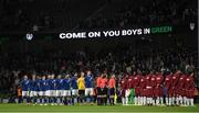 12 October 2021; Republic of Ireland players stand for the Nathional Anthem before the international friendly match between Republic of Ireland and Qatar at Aviva Stadium in Dublin. Photo by Eóin Noonan/Sportsfile