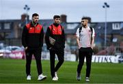 15 October 2021; Dundalk players, from left, Patrick Hoban, Sam Stanton and Michael Duffy arrive before the SSE Airtricity League Premier Division match between Bohemians and Dundalk at Dalymount Park in Dublin. Photo by Ben McShane/Sportsfile