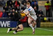 15 October 2021; Nathan Doak of Ulster is tackled by Megiel Burger Odendaal of Emirates Lions during the United Rugby Championship match between Ulster and Emirates Lions at Kingspan Stadium in Belfast. Photo by Ramsey Cardy/Sportsfile