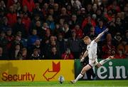 15 October 2021; Nathan Doak of Ulster kicks a conversion during the United Rugby Championship match between Ulster and Emirates Lions at Kingspan Stadium in Belfast. Photo by Ramsey Cardy/Sportsfile